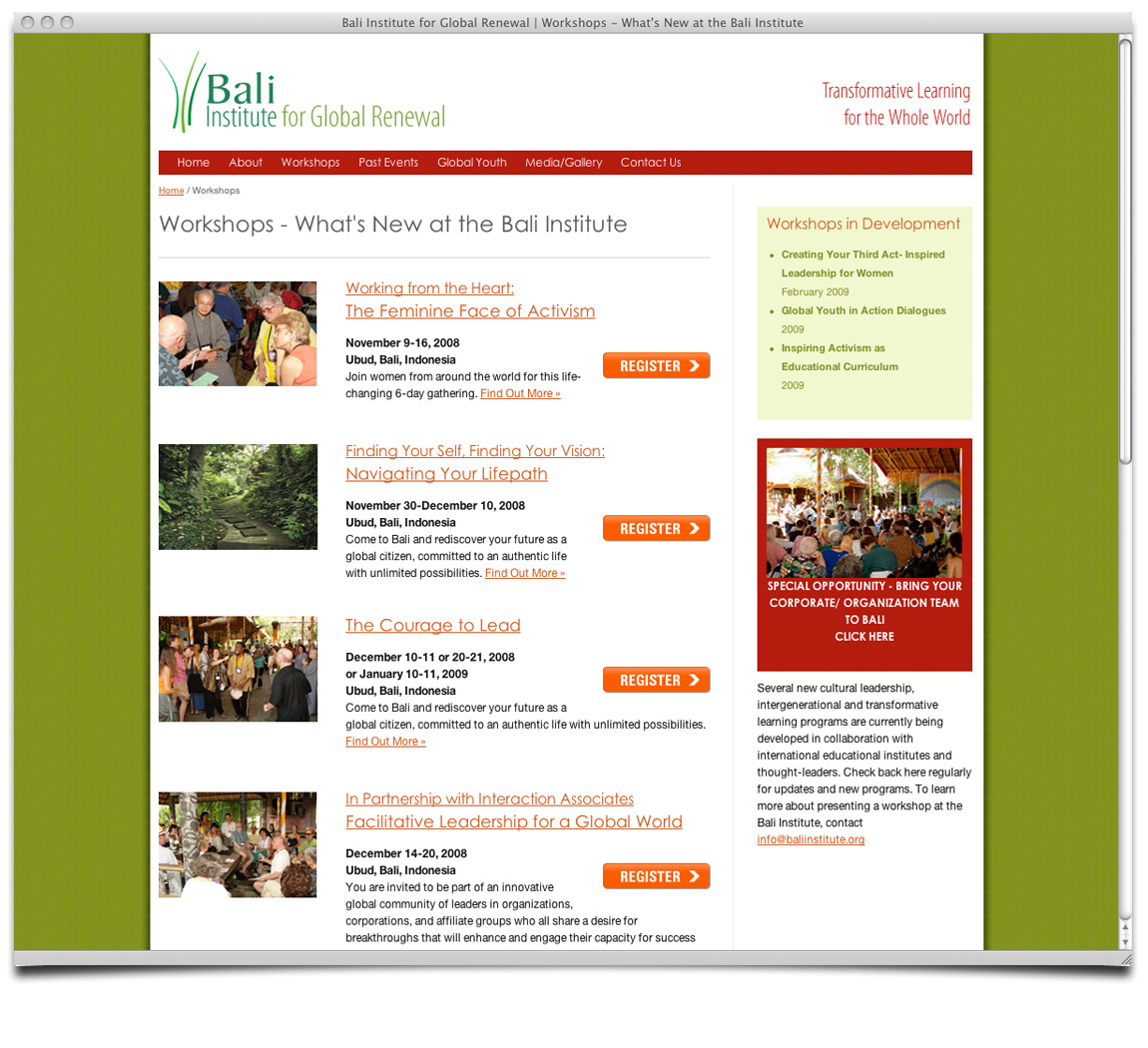 Bali Institute for Global Renewal Workshop Page